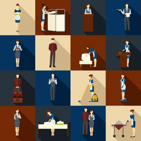 Hotelpersoneel pictogrammen die met geïsoleerde ober receptioniste en portier silhouetten vector illustratie Vector Illustratie