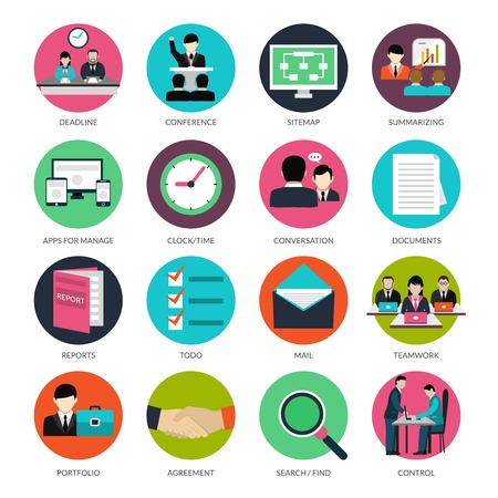 Project management icons with deadline conference documents and reports isolated vector illustration Çizim
