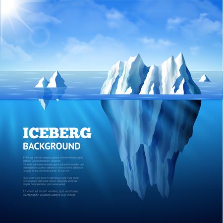 Noordzee poster met ijsbergen en zon op blauwe hemel achtergrond vector illustratie