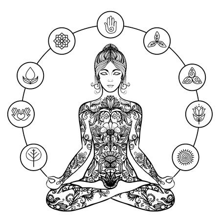 terapia psicologica: Meditaci�n del yoga decorativo cartel de sentarse con las piernas cruzadas en aliviar el estr�s loto mujer negro resumen ilustraci�n vectorial