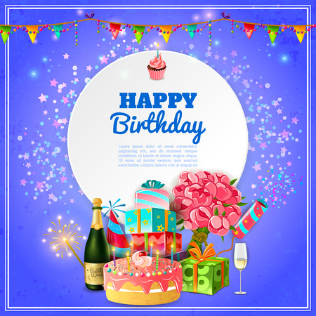 Happy birthday party template for background or invitation card with cake champagne and decorations abstract vector illustration Vectores