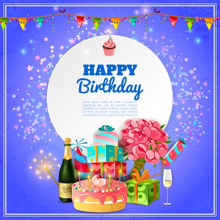 auguri di buon compleanno: Modello di festa di compleanno felice per lo sfondo o carta di invito con torta e champagne decorazioni astratto illustrazione vettoriale