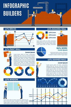 specification: Builders corporation skillful personnel participating in construction projects statistics and specification infographic layout design abstract vector illustration