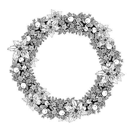 black and white frame: Black and white christmas holiday decoration wreath frame vector illustration