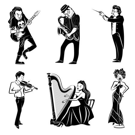 symphony: Musicians playing harp violin guitar saxophone and symphony orchestra conductor black icons set abstract isolated vector illustration Illustration