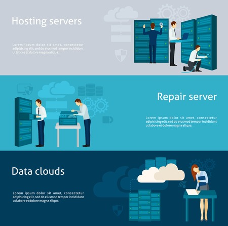 서버 및 데이터 구름 요소를 호스팅하는 설정 데이터 센터 가로 배너 벡터 일러스트 레이 션에 고립
