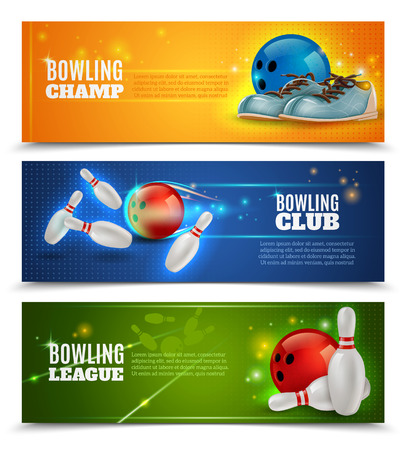 Bowling horizontal banners set with bowling champ club and leagues symbols realistic isolated vector illustration Ilustração