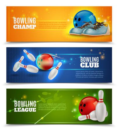 horizontální: Bowling vodorovné bannery, které spolu s bowling mistrovství klubu a lig symboly realistický izolované vektorové ilustrace Ilustrace