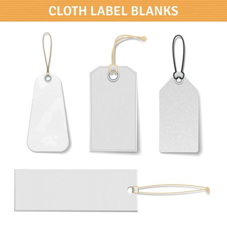 etiquetas de ropa: Ropa de etiquetas Etiquetas realistas blancas en blanco establecidos con el título de ilustración vectorial aislado