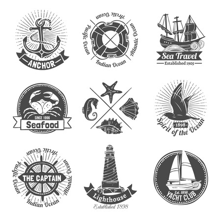 yacht: Nautical labels set with seafood and yacht club emblems isolated vector illustration