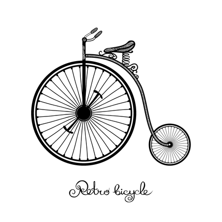 gravure: Retro style hand drawn circus bicycle with big front wheel vector illustration