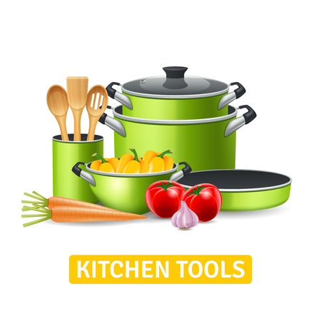 Kitchen tools with vegetables such as onions tomatoes and peppers realistic vector illustration