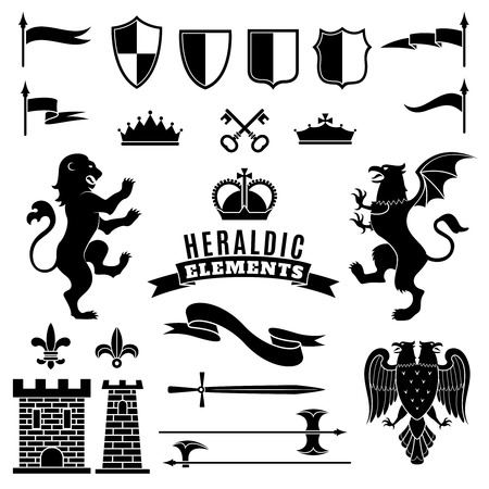 eagle badge: Heraldic elements black white set with crests and crowns flat isolated vector illustration