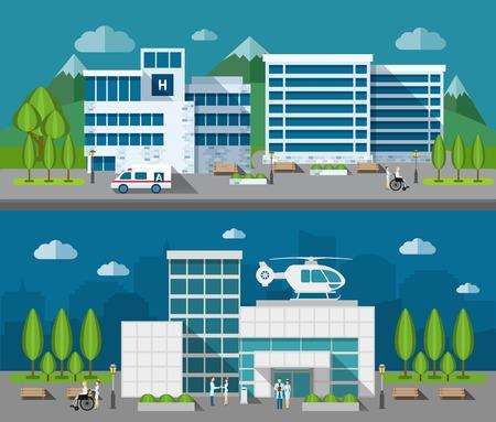 cantieri edili: Edifici ospedalieri anteriore piatto orizzontale set di banner illustrazione vettoriale isolato