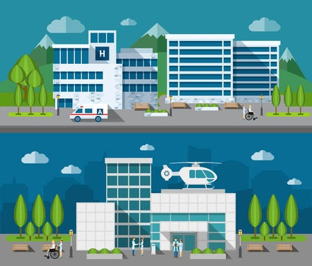 set design: Hospital buildings front flat horizontal banner set isolated vector illustration Illustration