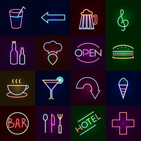 Neon icons set with cocktail bars hotels and fast food restaurants isolated vector illustration