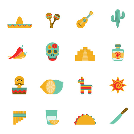 peppers: Mexican culture symbols flat icons set with tequila cocktail and hot chili peppers abstract isolated vector illustration Illustration
