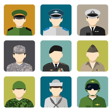 uniform: militares militares en uniformes usuarios de Internet avatar de cabeza y hombros de conjunto de iconos ilustración vectorial aislado abstracta plana Vectores