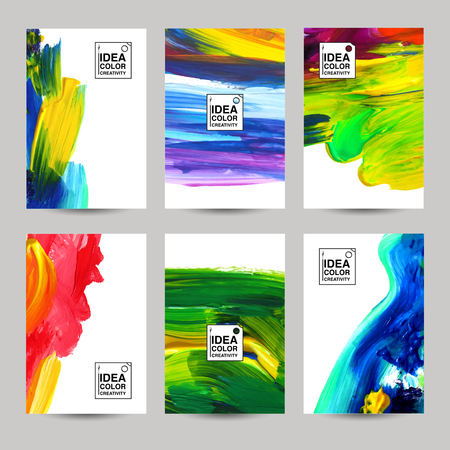 colorful paint: Acrilic paint texture vertical paper banner set isolated vector illustration
