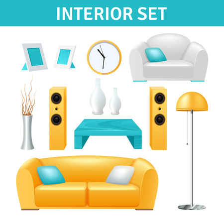 modern interior: Modern interior realistic design set with sofa stereo system vase and table isolated vector illustration