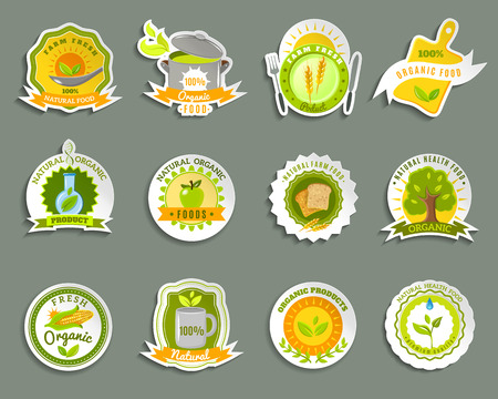 naturally: Healthy food from ecological organic naturally grown high quality fresh products stickers set abstract isolated vector illustration Vectores