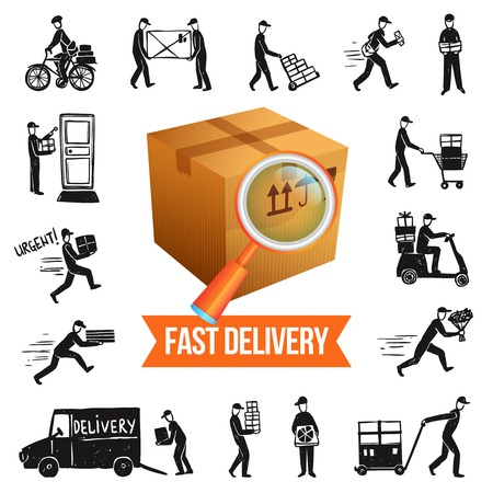 postman: Fast delivery service concept with cardboard box and doodle courier silhouettes isolated vector illustration