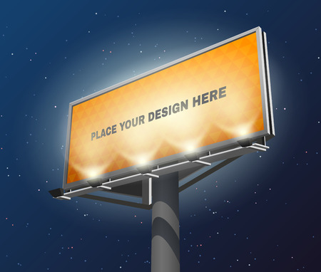 billboard: Place your design here prominent advertisement billboard against lighted yellow and visible at night  abstract vector illustration