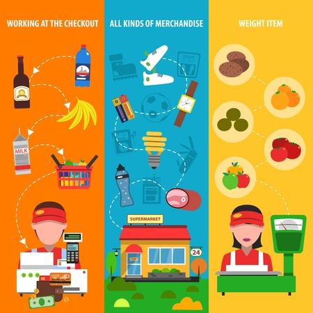 supermercado: Banner vertical Supermercado establece con descuento y mercancías elementos aislados ilustración vectorial