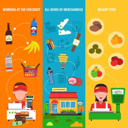 grocery shelves: Supermarket vertical banner set with discount and merchandise elements isolated vector illustration Illustration