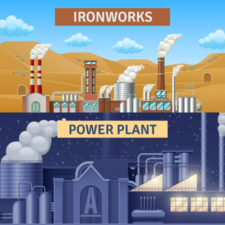 ironworks: Factory building horizontal realistic banners set with ironworks and power plant isolated vector illustration