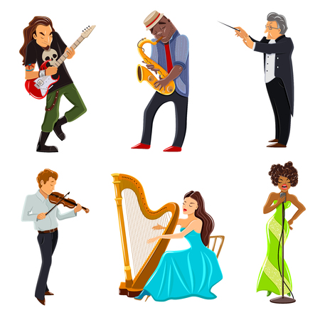 symphony orchestra: Musicians playing harp violin guitar saxophone and symphony orchestra conductor flat icons set abstract isolated vector illustration