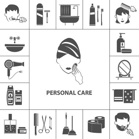 Persoonlijke verzorging ochtend hygiënische routine zwarte pictogrammen collectie met vrouw het schoonmaken van haar huid poster abstracte illustratie