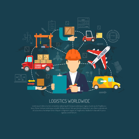coordinacion: Worldwide servicios de la empresa de log�stica operador de coordinar el transporte de carga y el diagrama de flujo de entrega cartel internacional de ilustraci�n de fondo abstracto del vector Vectores
