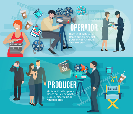 film: Film shooting horizontal banners set with operator producer and actors flat isolated vector illustration