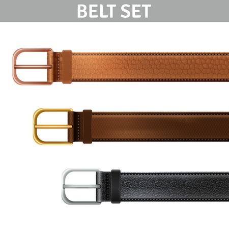 buckles: Realistic leather belts set with metal buckles isolated vector illustration Illustration