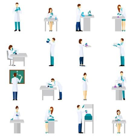 investigador cientifico: Iconos planos persona Científico establecidos con hombres y mujeres en el laboratorio aislado ilustración vectorial