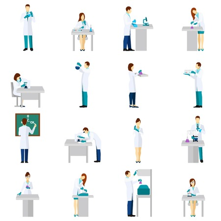 scientist man: Scientist person flat icons set with men and women in laboratory isolated vector illustration