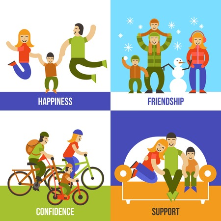 confidence: Family design concept set with happiness friendship confidence support flat icons isolated vector illustration