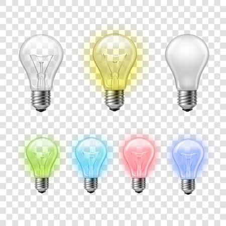 bombilla de luz: El arco iris de cristal transparente de color pictogramas bombillas establecen dentro y fuera contra el fondo a cuadros ilustración abstracta Vectores