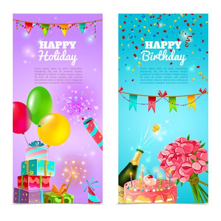 globos de cumpleaños: Día de fiesta feliz cumpleaños de la fiesta de celebración 2 banderolas festivas verticales fijados con pastel y champagne abstracto ilustración vectorial