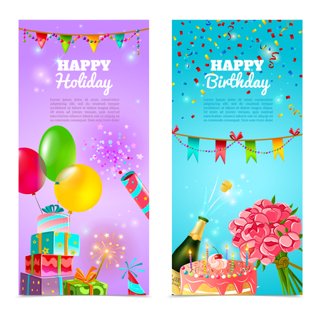 balloons celebration: Happy birthday holiday party celebration 2 vertical festive banners set with  cake and  champagne abstract vector illustration Illustration