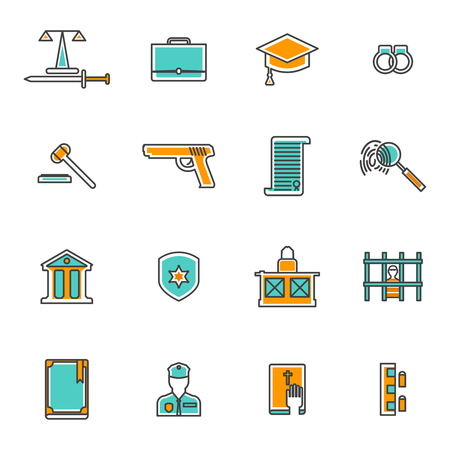 law and order: Judgement and law line icons set with court prison and criminal flat isolated vector illustration