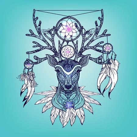 animal ritual: Indian deer head with tribal ritual decoration hand drawn vector illustration Illustration