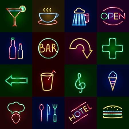 Led lights icons set with dot neon signs isolated vector illustration