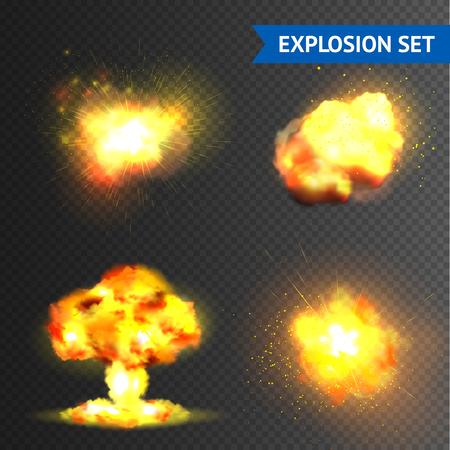 透明な背景のベクトル図に分離された現実的な爆弾や花火爆発セット