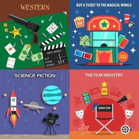 film industry: Movie design concept set with western science fiction film flat icons isolated vector illustration
