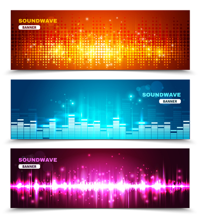 audio wave: Audio equalizer sound wave display 3 horizontal banners set in vivid bright colors abstract isolated vector illustration