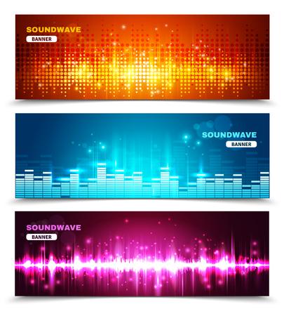 componentes: visualización de onda de sonido ecualizador de audio 3 banners horizontales encuentra en brillantes colores vivos resumen ilustración vectorial aislado