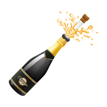 Black champagne bottle explosion with cork and splashes realistic vector illustration