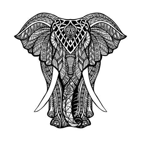 elefante: Decorativo vista frontal elefante con estilizada adorno dibujado a mano ilustración vectorial